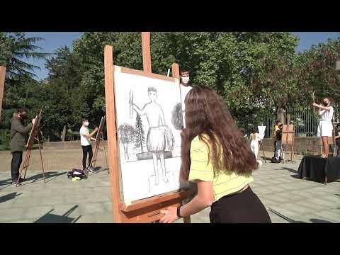 Día del Arte. los alumnos del Otero Pedrayo lo celebraron en el Posío 16/04/2021