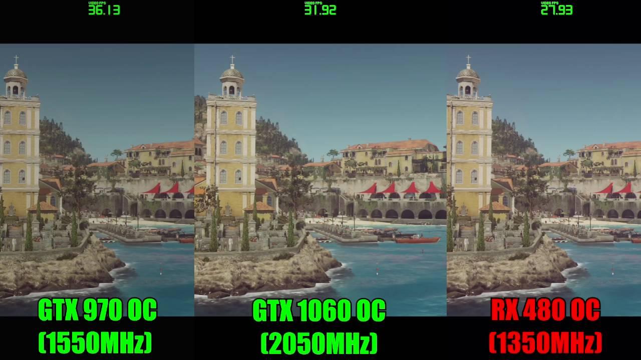 HITMAN GTX 1060 OC - GTX 970 OC - RX 480 OC | 1080p | FRAME-RATE TEST  COMPARISON