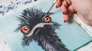 Crazy Ostrich bird(4k) -Acrylic painting / Homemade Illustration