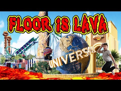 FLOOR IS LAVA CHALLENGE AT A THEME PARK!   AMUSEMENT PARK FLOOR IS LAVA CHALLENGE!
