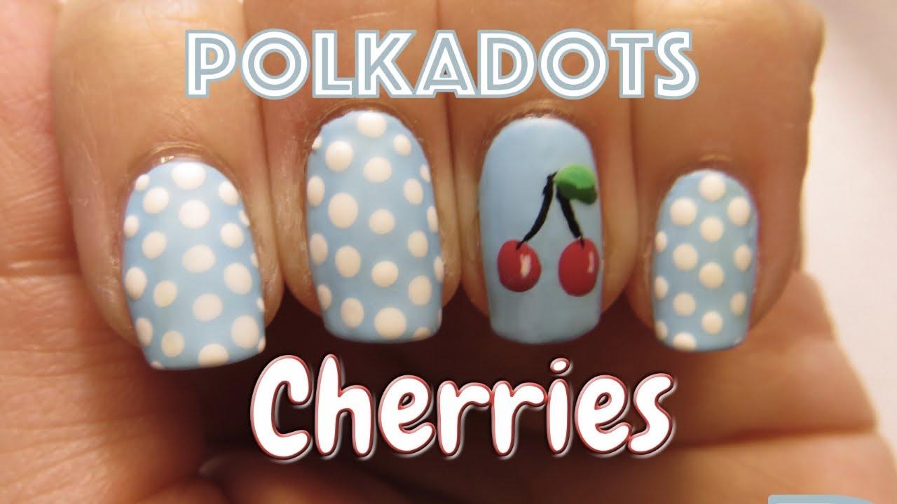 Cherry And Polka Dot Nail Art Matte Nail Design Youtube