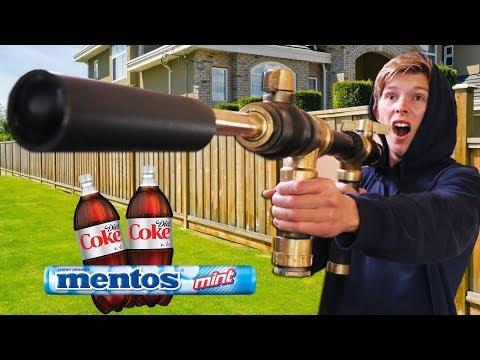 We Built DIY Coke + Mentos Cannons!! *GONE WRONG*