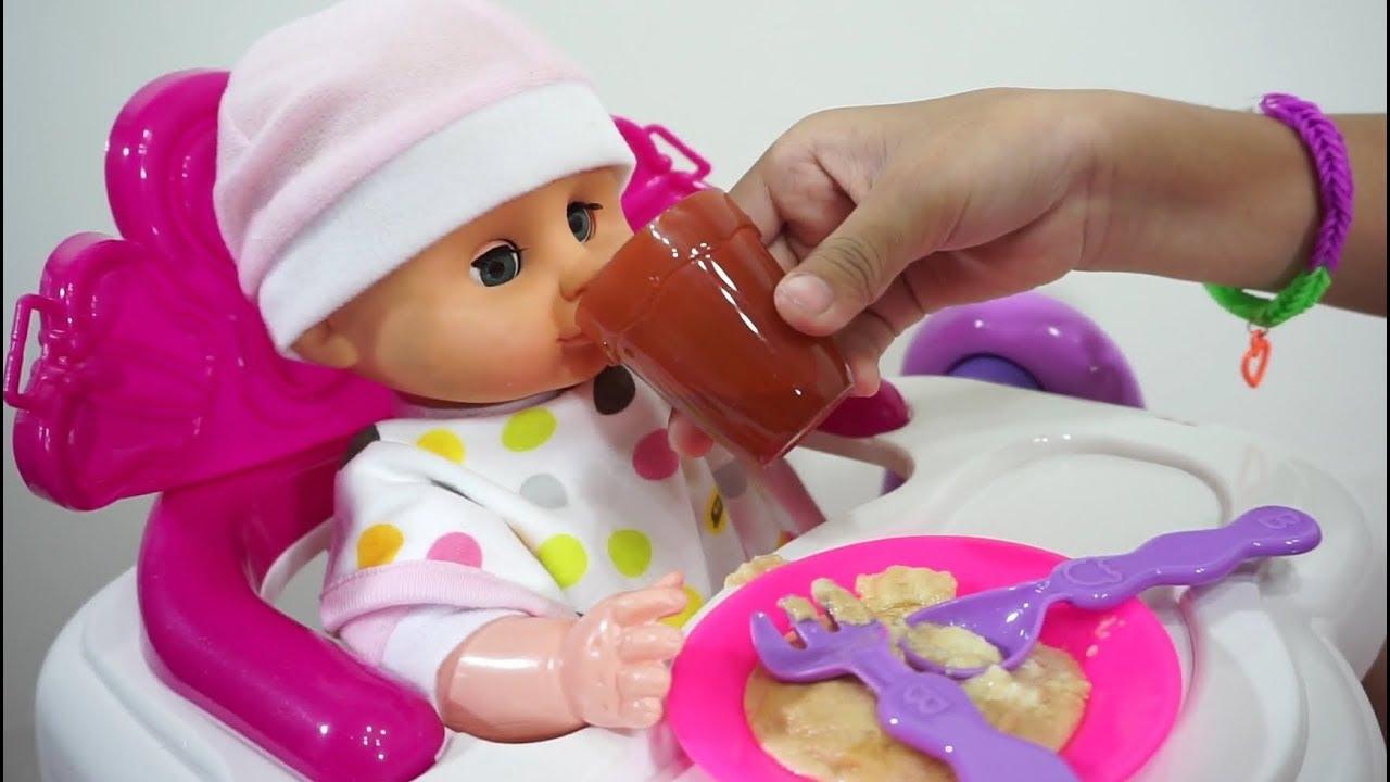Mainan Anak Meja Makan Boneka Bayi 💖 Ngasih Makan Boneka Bayi Lucu 💖  Let s Play Jessica 💖 d13de9a92c