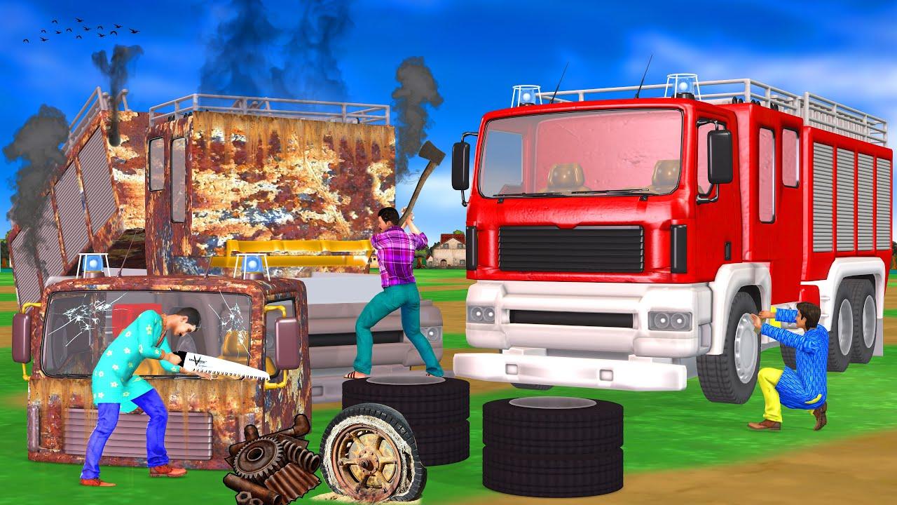 विशाल फायर ट्रक मरम्मत Giant Fire Truck Restoration Hindi kahaniya Comedy Video कहानियाँ New kahani