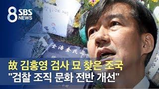 """故 김홍영 검사 묘 찾은 조국…""""檢 조직 문화 전반 개…"""