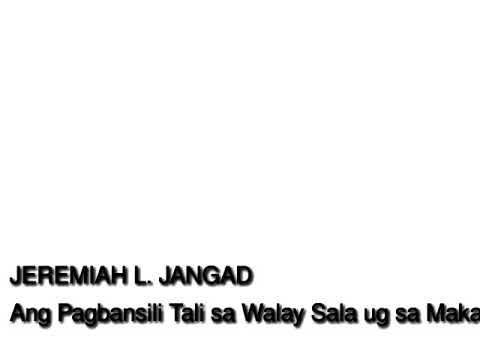 Ang Pagbansili Tali sa Walay Sala ug sa Makasasala (Gospel Radio Broadcast)