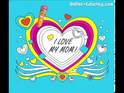 I Love My Mom :: Happy Mother\'s Day Online Coloring Pages :: Girl ...