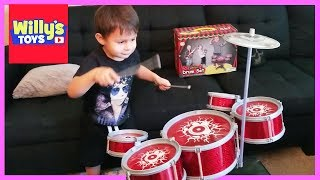 CRAZY 3 Year Old Kid Playing a Junior Drum Set - How to Play the Drums - Willy