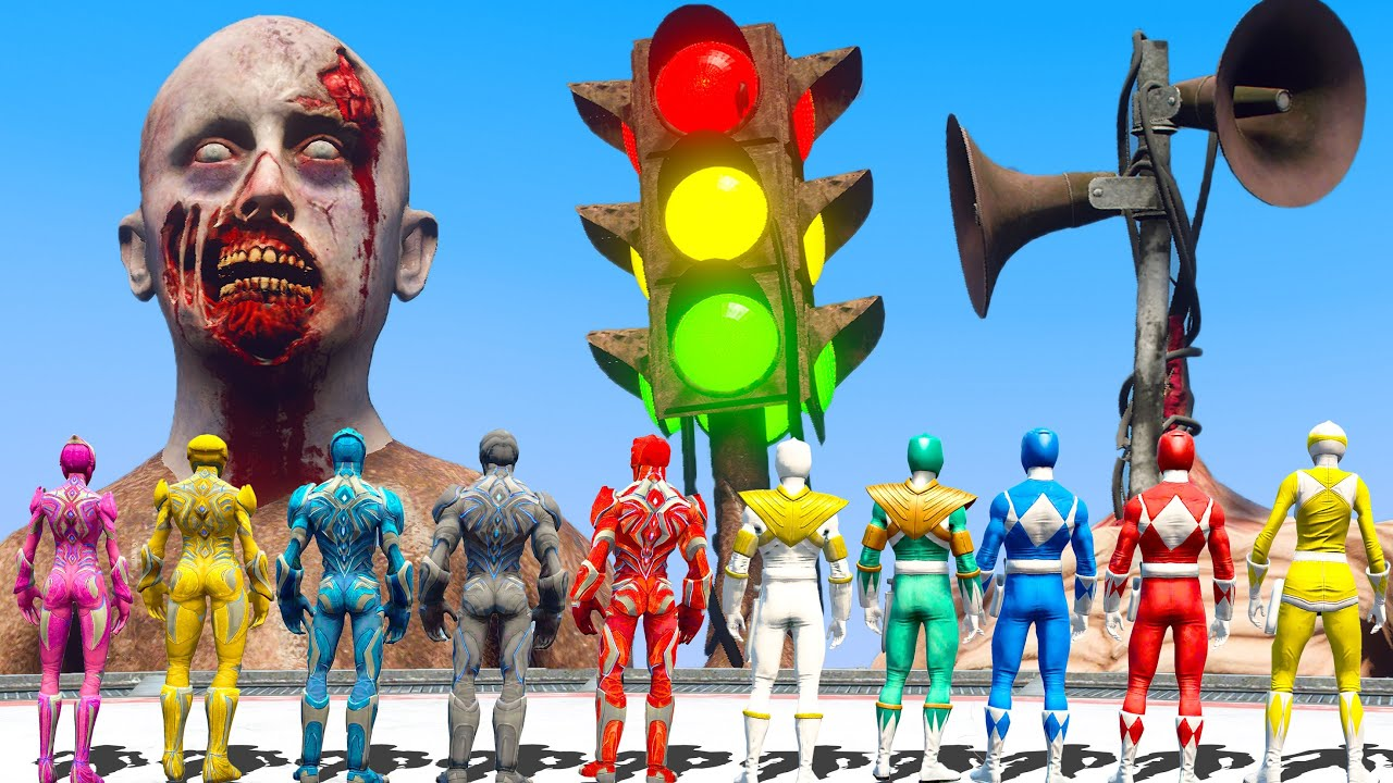 Download Power Rangers FOUND Giant Angry Siren Head Army | Superheroes VS Monster | Monster Universe
