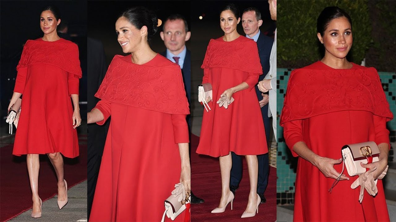 ede7d1cb842 Meghan Markle Striking in Flowing Red Valentino Dress Covering Her Bump as  She Touchdown in Morocco