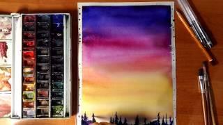 Рисуем закат акварелью