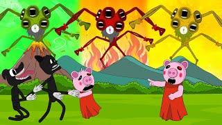 Siren Head Ailen Vs Caroon Cat, Cartoon Dog, Piggy + More   Roblox Piggy Animation   GV Studio