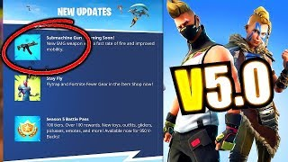 Fortnite NEW SMG e (UPDATE) V 5.0 vinda amanhã-Fortnite Season 5 New gifting & Vault