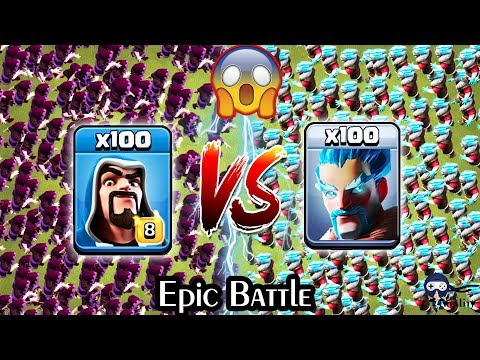 100 Wizard Vs 100 Ice Wizard Clash Of Clans | Max Wizard Vs Ice Wizard COC