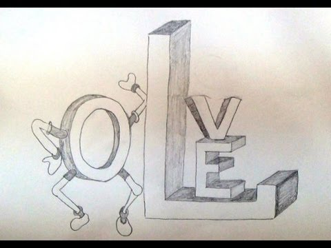 how to draw the word love in 3d