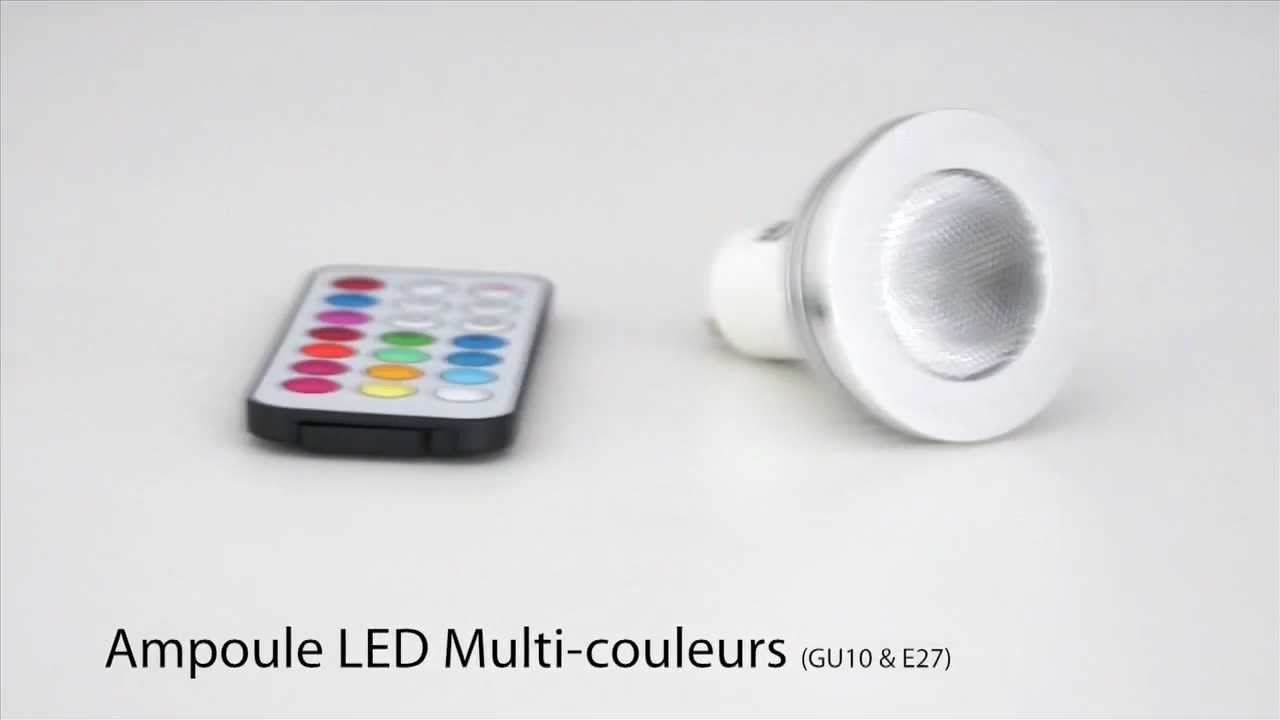 ampoule led multi couleurs avec t l commande gu10 e27 by livedeco youtube. Black Bedroom Furniture Sets. Home Design Ideas