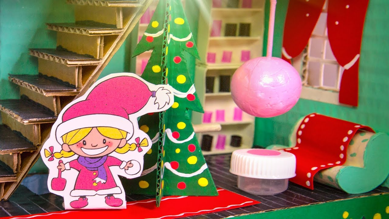 House Craft Ideas For Kids Part - 39: How To Decorate The Cardboard House For Christmas | Easy DIY Craft Ideas U0026  Projects For Kids