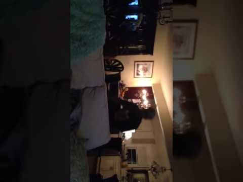 Twins 3rd birthday playing karaoke machine present April 2016