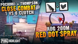 CLOSE COMBAT 1 VS 6 CLUTCH + AUG RED DOT 200M SPRAY !!! Ryan Prakasha PUBG MOBILE