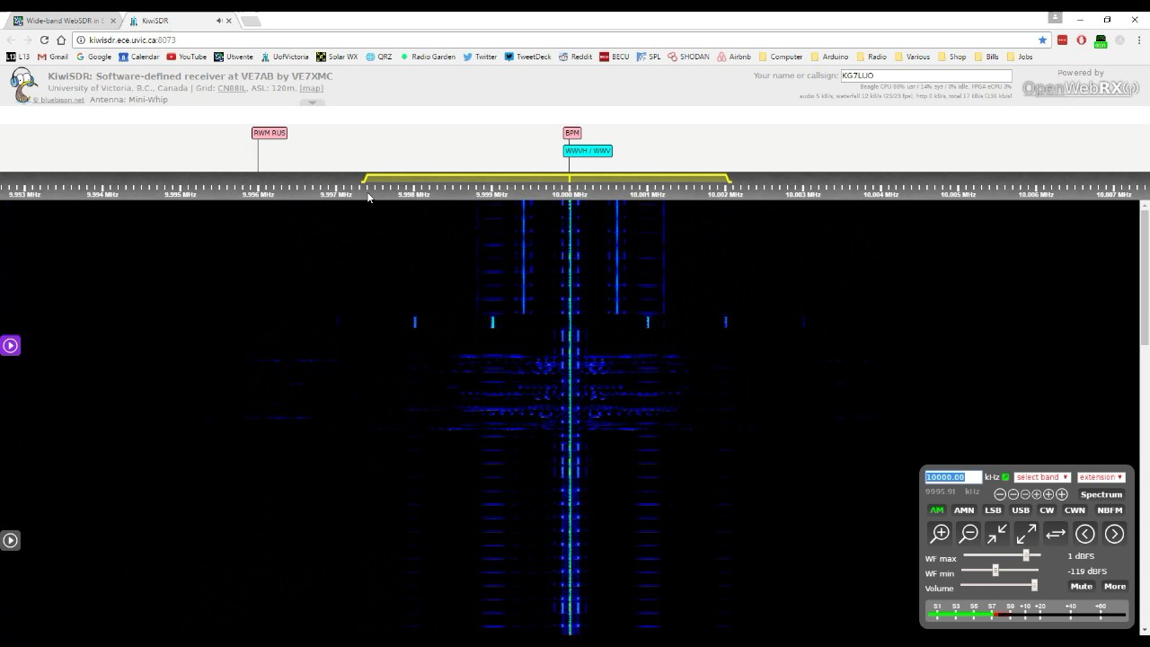 Very clear recording of WWVH/WWV time signal at 10000 kHz