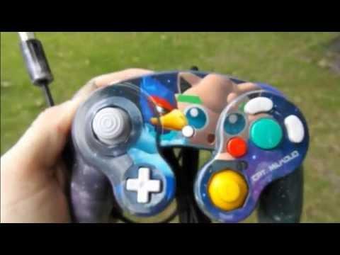 Custom Airbrushed Nebula Falco Puff Gamecube Controller
