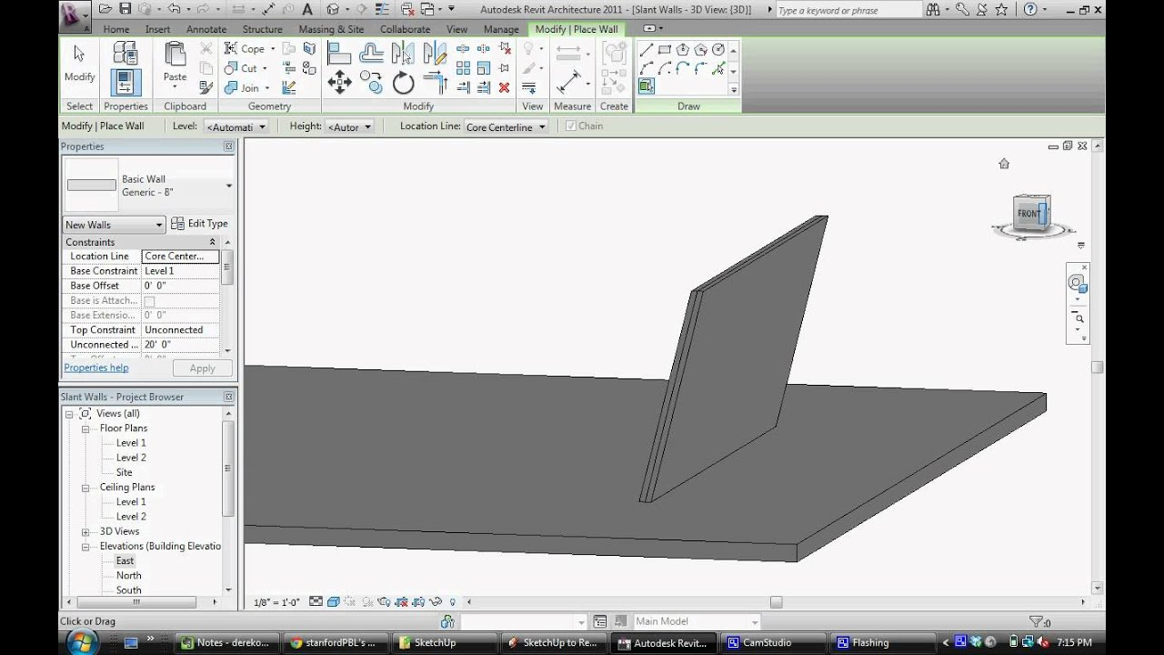 how to make a sloped wall in revit