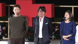 "[SSTV] 김윤석-박유천(Park Yu Chun) 등 해운대 밝힌 '해무' 팀 ""밤 11시 함께 걸어요"""