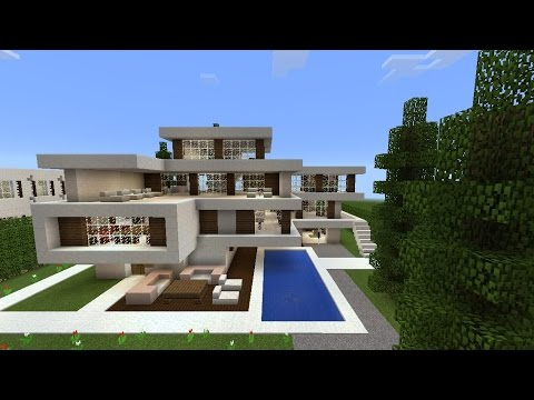maison moderne minecraft pe serveur de l 39 architecte youtube. Black Bedroom Furniture Sets. Home Design Ideas