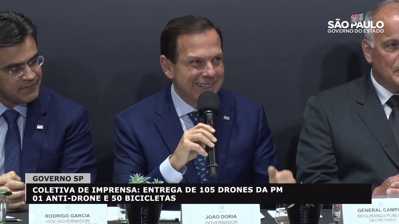 Coletiva de Imprensa Entrega de 105 Drones da PM , 01 Anti Drone e 50 bicicletas