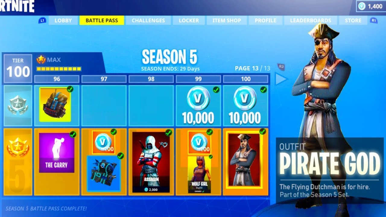 fortnite season 5 battle pass free download