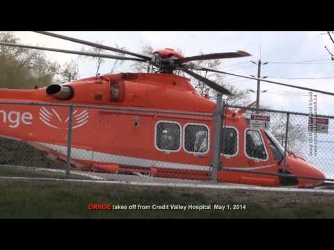 ORNGE air ambulance helicopter takes off from Credit Valley Hospital