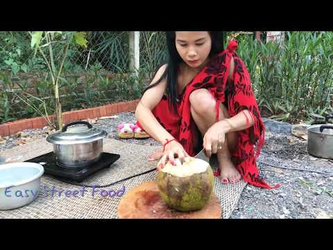 Thumbnail: Tasty! Cute Girl Cook Rice Flour With Coconut and Palm Sugar-Traditional Khmer Dessert