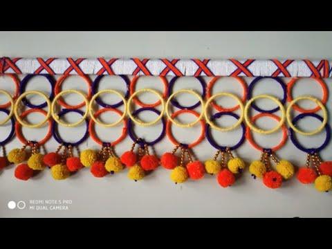 Old Bangles Woolen Best Out of Waste !!! Toran !! Cool Craft idea !! Wall Hanging Woolen Ideas
