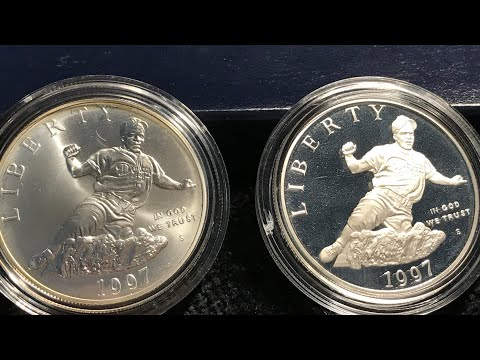 1997 Jackie Robinson Commemorative Silver Dollar - Uncirculated & Proof Coins