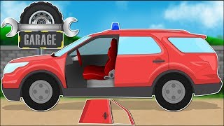 Fire Chief Vehicle car garage video for kids