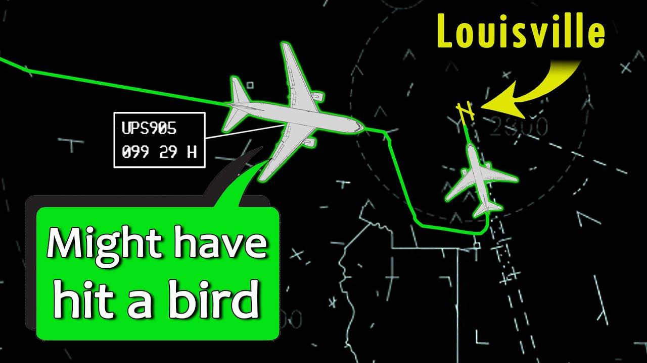 UPS B767 has BIRD STRIKE DESCENDING | Severe Damage Observed