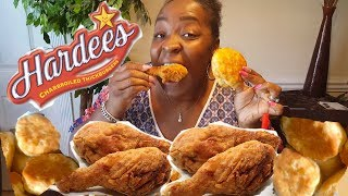 Hardees Mukbang || Fried Chicken, Green Beans & Biscuit