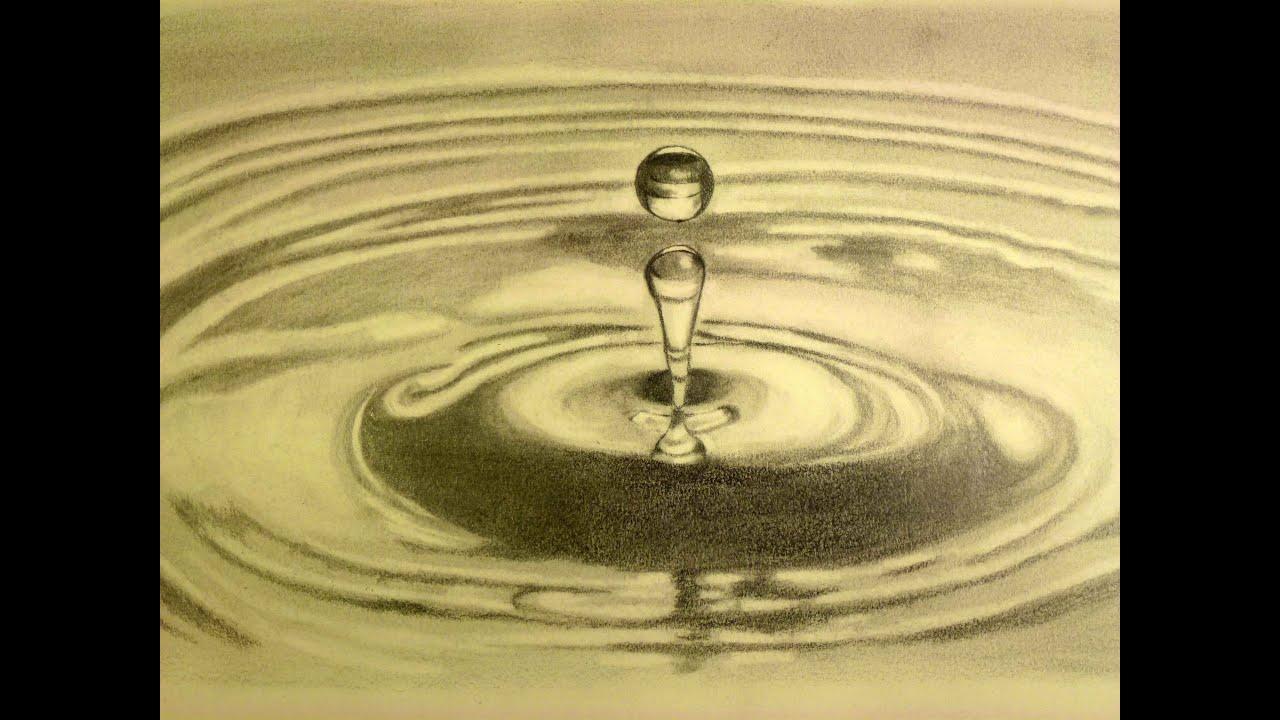 Como Dibujar Gotas De Agua Al Carboncillo Arte Divierte Youtube Gotas De Agua Arte Divertido Como Dibujar