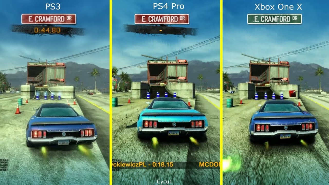 burnout paradise ps3 vs ps4 pro vs xbox one x graphics comparison youtube. Black Bedroom Furniture Sets. Home Design Ideas