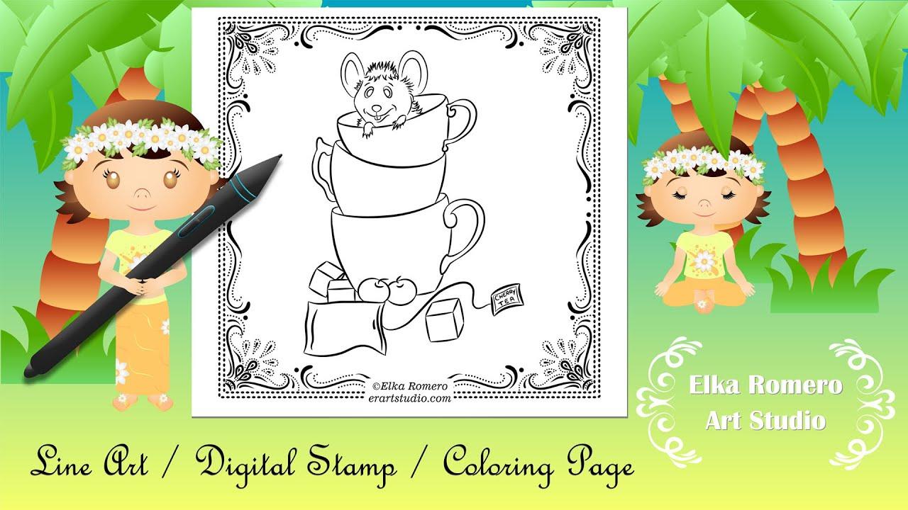 Desenho para colorir - Mouse Tea Party (Line Art/Digital Stamp/Coloring Page)