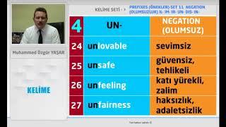 PREFIXES / ÖNEKLER - NEGATION / OLUMSUZLUK - IL - IM - IR - UN - DIS - IN - SET 11