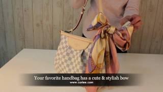 how to tie a bow on a handbag with a silk scarf