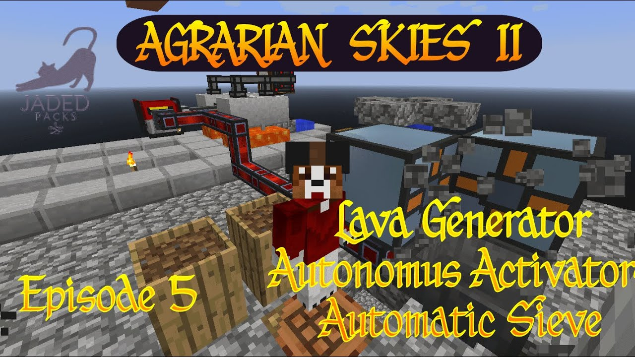 Agrarian Skies 2 Part 1 Automatic Ores Automatic Sieve Ep 05 Minecraft Youtube