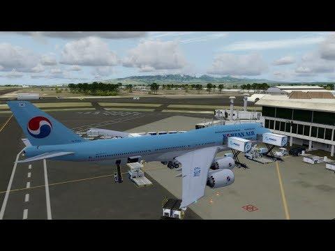 P3D v4 3 PMDG 747-8i Korean air Jeju and Honolulu landing