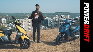 TVS NTorq 125 vs Aprilia SR 125 : Which is the best sporty scooter? +OnePlus 6 Giveaway : PowerDrift