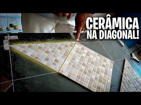 Sala fora de esquadro como assentar cerâmica na diagonal  parte 02