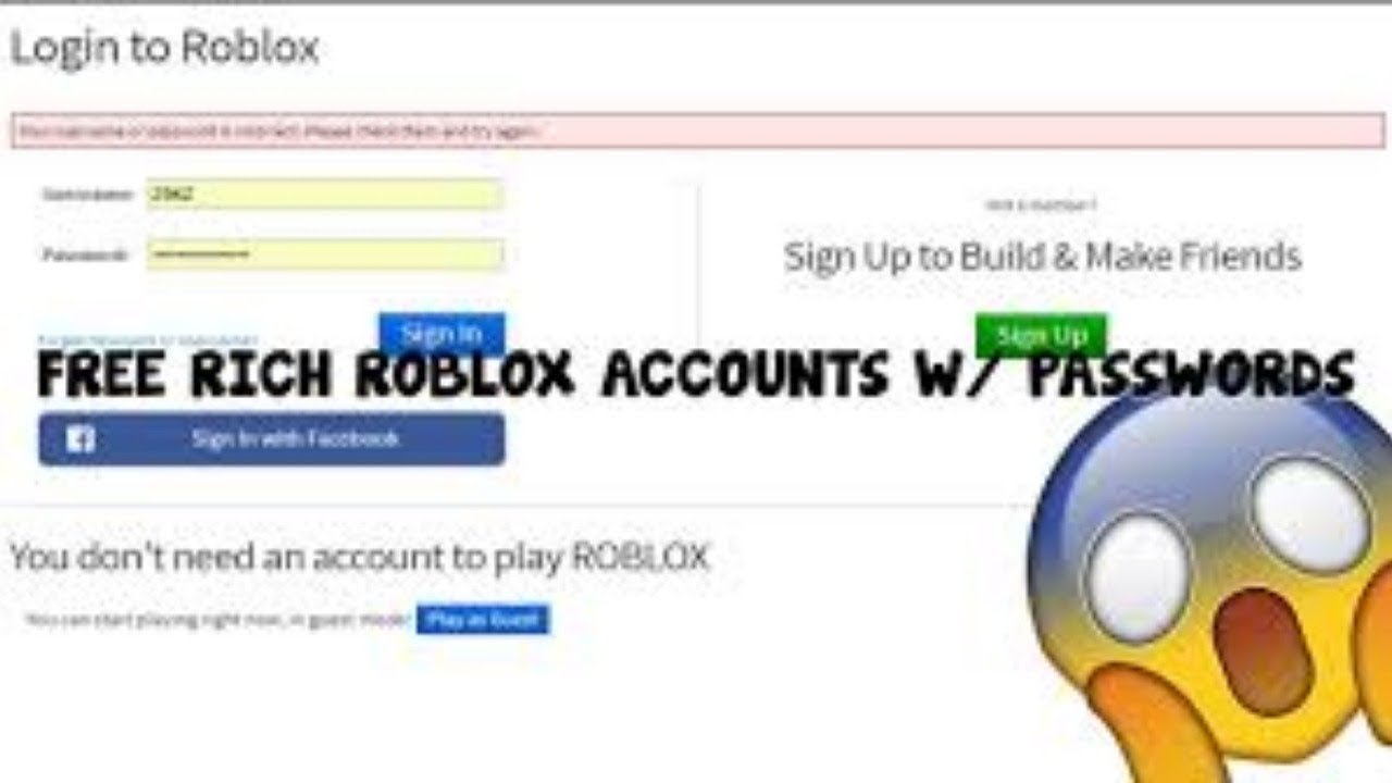 roblox usernames and passwords that work 2018