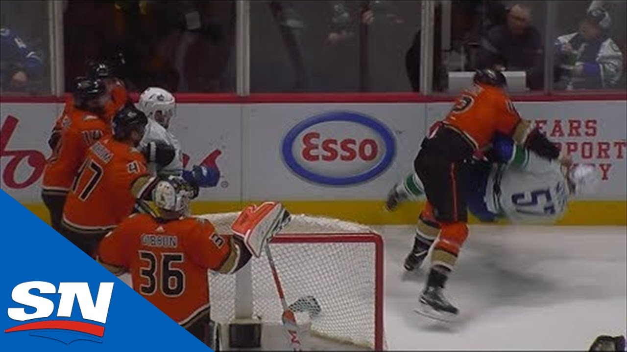Tyler Myers Takes Exception To Hit On Elias Pettersson Before Josh Manson Jumps Him