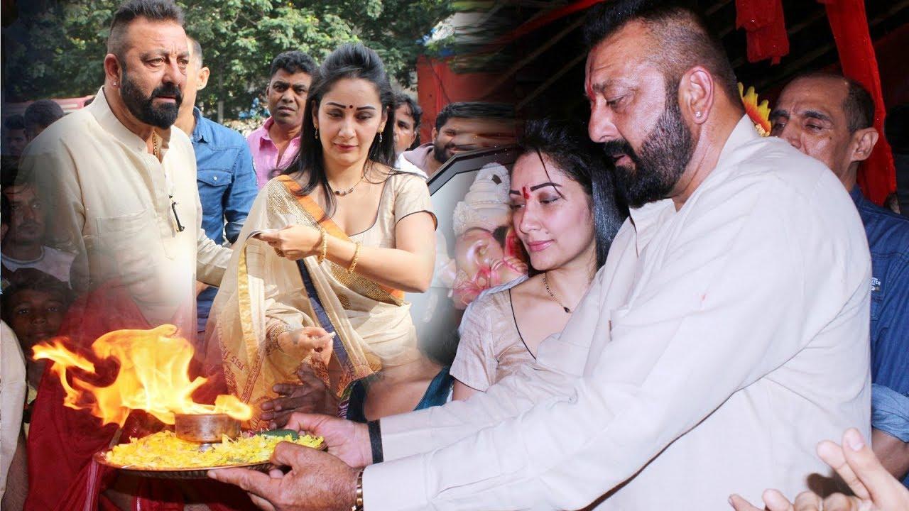Sanjay Dutt With H0t WIFE Manyata Dutt Ganesh Aarti | Ganesh ...