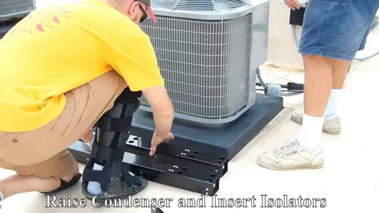 Seicon air conditioning isolator installation on existing for Ac condenser pad installation